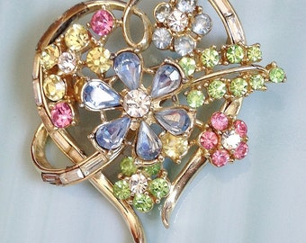 Multi Color PASTELS Rhinestone on Gold Heart Shaped Floral 'As Is' Pin