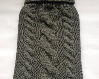 Hand Knitted Hot Water Bottle Cover in Green