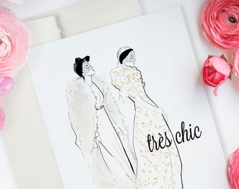 Très chic, Haute Couture  - Greeting Card, Fashion Illustration