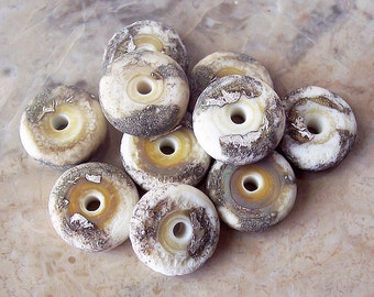 Ivory Rustic. Handmade Lampwork Glass Disk (10 pcs) Silvered Ivory 13-14 mm x 3-4 mm. Matte Finish. Made to order.