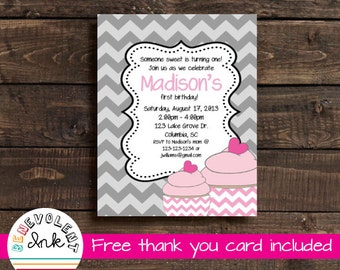 Cupcake First Birthday Invitation - Printable Birthday Party Invite with FREE Thank You Card