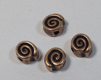 4 pearls spiral in hypoallergenic copper metal. 8 mm.