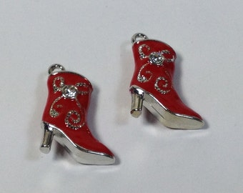 2 charms boots in hypoallergenic silver-plated and enameled red metal with small white strass . 20 mm.