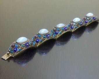 Art Deco Filigree Bracelet - Victorian Jade Bracelet - Handmade Filigree Enamel Bracelet - Art Deco Jade Silver Bracelet - Victorian Jewelry