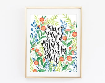Wild Thing - Watercolor Floral Painting - DH Lawrence Print