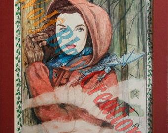 Misty Dragon Lady Drawing Print 11x17