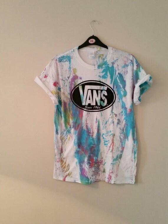 unisex customised acid wash tie dye vans t shirt sz large