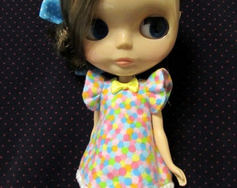 Blythe Doll Outfit Cloth Colorful Print Dress