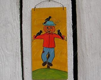 Halloween Pumpkin ScareCrow Jack o Lantern Crow Original Primitive Folk Art Painting Eco Decoration