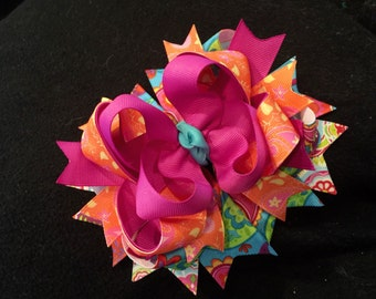 Bright and Summery Boutique Hair Bow Clip or Headband for Infant, Baby or Girls!
