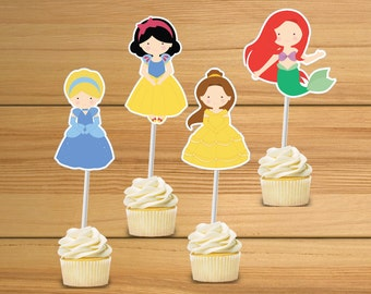 Princess party cupcake toppers - set of 24 - Disney princess cupcake toppers