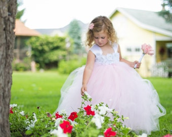 Flower girl dress - Tulle flower girl dress - Pink Dress - Tulle dress-Infant/Toddler - Pageant dress - Princess dress - Pink flower dress