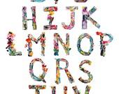Alphabet Collage Art -Poster size- abc's, alphabet collage, collage art, typography art, lettering art, island flowers, sculptural letters