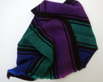 Handwoven striped towel-purple, blue, green, and black