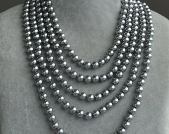 hand knotted pearl necklace, gray pearl necklace,100 inches long pearl Necklace,Glass Pearl Necklace,cheap pearl necklace,statement necklace