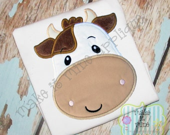 Applique Farm Cow Machine Applique Design
