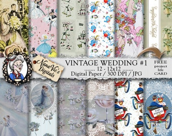 Vintage Wedding  #1 Digital Paper, Marriage, Bride and Groom, Lace, Romance Backgrounds Scrapbooking Printable, 12 H Res 300 DPI By Nana Vic
