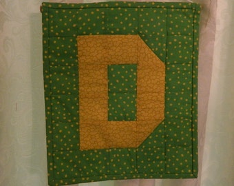 """Letter """"D"""" Wall Hanging - Pieced and Quited - Ready to Hang - 10.5"""" x 12"""" Fabric Wall Hanging - Yellow+Green -  Initial Quilt - Letter D"""