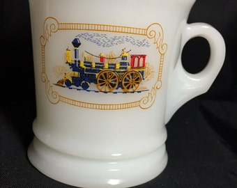 Vintage AVON Collectable Milk Glass Shave Mug with Locomotive