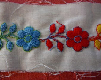 Thick embroidered florals on poly/cotton