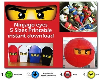 INSTANT DL- Ninjago eyes 5 sizes - for Balloon, Stickers, Lollipop, Favor bags, Cups - Digital JPEG file