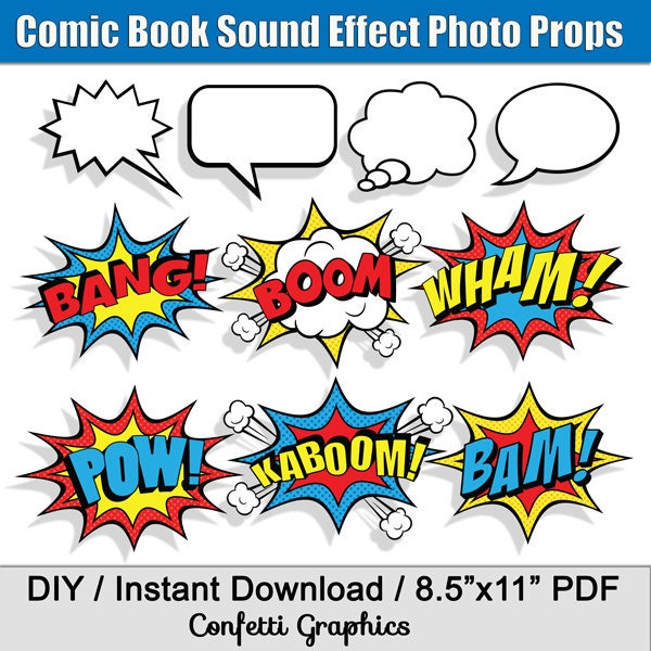 Book Cover Photography Prop ~ Comic book sound effects speech bubbles superhero photo booth