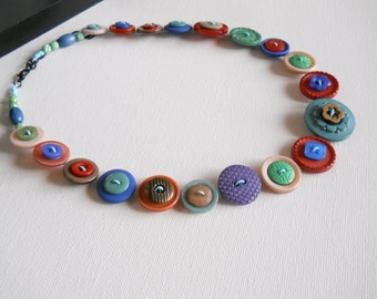 Button Necklace, Button Jewellery, Statement Necklace, Green Necklace, Brown Necklace, Unique Necklace, Handmade Necklace, Quirky Necklace