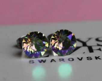 NEW SWAROVSKI COLOUR-8mm Surgical Steel Stud Earrings made with Crystal Paradise Shine Swarovski Crystal Elements