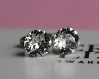 8mm Surgical Steel Stud Earrings made with Clear Swarovski Crystal Elements