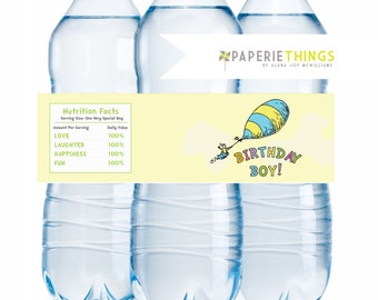 Printable Water Bottle Labels - Drink Wraps Wrappers - Dr. Seuss Oh the Places He'll Go Birthday INSTANT DOWNLOAD