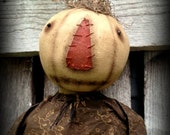 Primitive Folk Art White Pumpkin Doll--Adeline--Handcrafted-Fall-Autumn-Halloween-Hafair Team-Faap