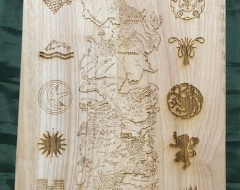 Game of Thrones Inspired Etched Westeros Map & House Sigils Chopping Board