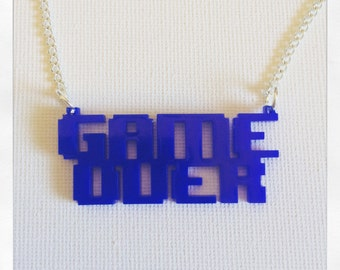 Retro Gaming Inspired Game Over Acrylic Necklace