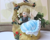 Vintage Plastic Southern Belle Girl Swinging from a Branch Planter