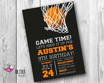 Basketball Birthday Invitation, Sports Invitation, Basketball Party, Printable, Digital File