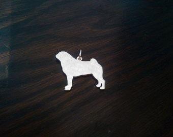 Pug dog silhouette pendant