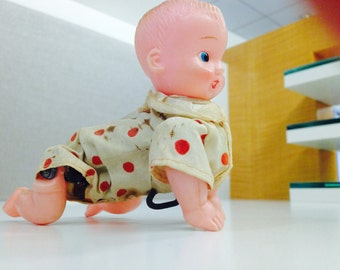 Vintage Celluloid Wind Up Crawling Baby Doll - Japan