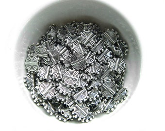 50 Silver Round Disc 8mm Spacer Beads