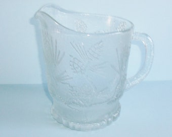 Tiara Exlusives Ponderosa Pine Pitcher Large Clear Glass Pitcher 64 OZ Vintage Glass Pitcher Made in USA Indiana Glassware