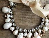 Boho bridal freshwater pearl anklet Swarovski crystal wedding anklet ribbon bow gypsy boho beach wedding accessories bohemian jewelry