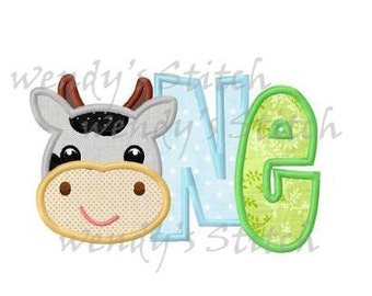 cow birthday applique number one machine embroidery design instant download