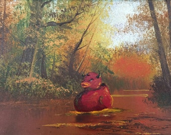 Evil Rubber Duck Devil Parody Painting, 'You're the One Two' -Enhanced Thrift Art - Limited Edition Print or Poster, Devil Rubber Duck Print