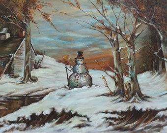 Giant Evil Snowmen in Quaint Winter Scene Painting, 'Lake Effect' - Altered Thrift Art - Limited Edition Print or Poster, Funny Evil Snowman