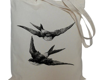 Tote bag/ drawstring bag/ swallows cotton bag/  material shopping bag/ swallows/ birds/ shoe bag/ gift bag/ market bag