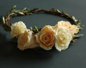 Rustic Bridal Headpiece Preserved Boxwood Wedding Floral Crown