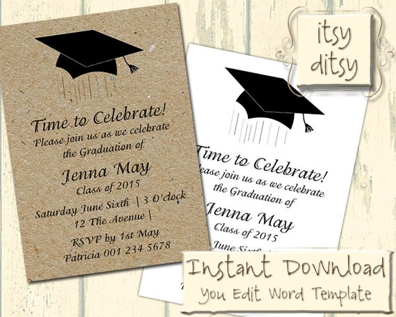 Graduation Invitation Template With A Mortarboard Design   Download, Edit U0026  Print Yourself   Printable Invitations Word Instant Download