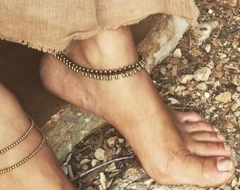 Brass ankle bracelet macrame anklet , brass beads, bohemian bracelet