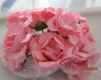 12pcs-3cm-Shimmery Paper rose/NF11-Glitter wedding flower/