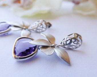 SALE 50% Dangle Earrings, Wild orchids amethyst glass pendants  WOOP012. Coupon Code: SALE50