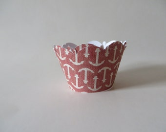Nautical theme cupcake wrapper - available in any color you desire